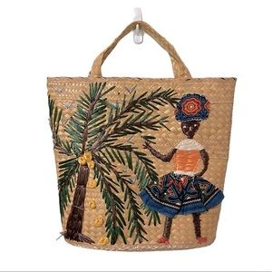 """VINTAGE 1960""""s Straw Woven Palm Tree Woman Tote"""